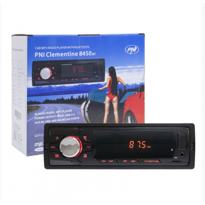 Radio MP3 player auto PNI Clementine 8450BT 4x45w 1 DIN cu SD, USB, AUX, RCA si Bluetooth