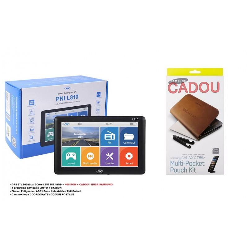 PACHET PROMO : Sistem de navigatie GPS PNI L810 ecran 7 inch, 800 MHz, 256M DDR, 8GB memorie interna, FM transmitter - HARTA FULL EUROPA ! + Husa Samsung Piele CADOU !!