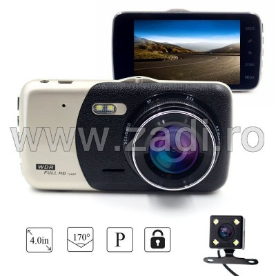 Camera Video Auto Dubla Techstar® T810 FullHD Cu Functia WDR si Ecran IPS 4inch + card 16GB inclus